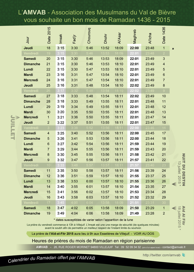 Horaire De Priere Ramadan Blida 2015 Calendar | New Calendar Template ...