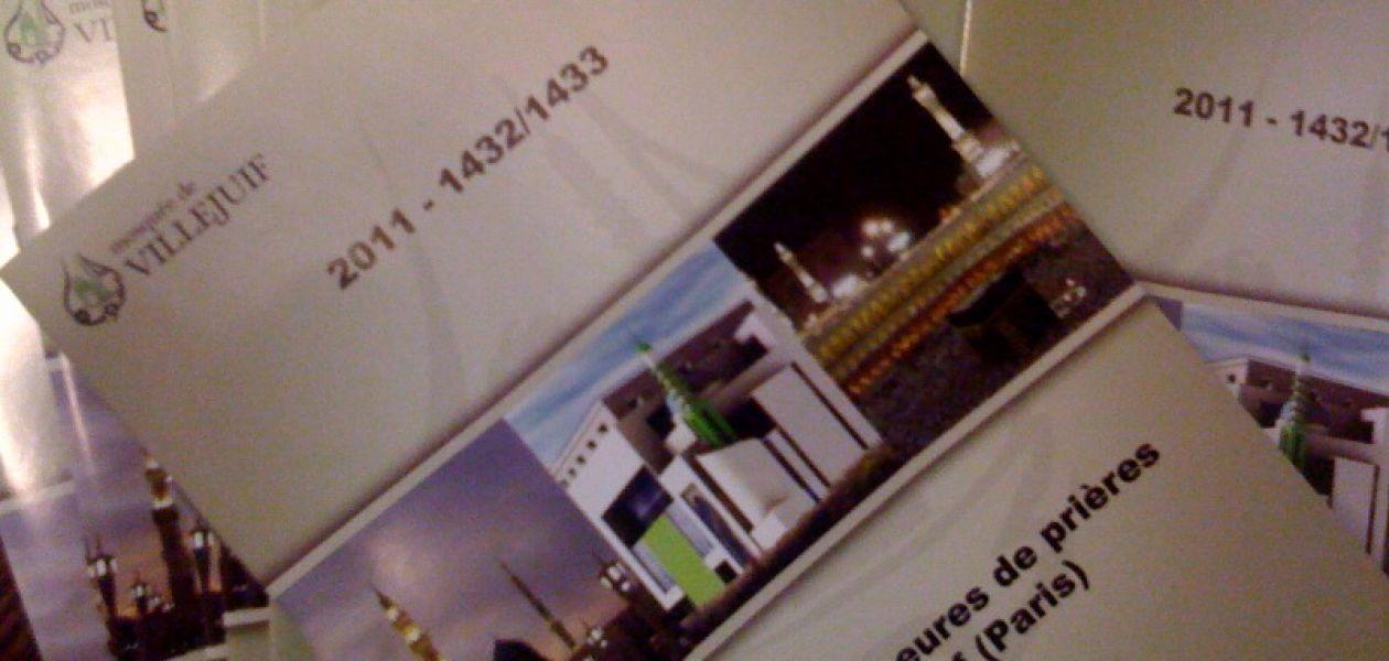 Calendriers des horaires de prière 2011 pour Villejuif